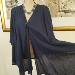 COURAGE.b NAVY BLUE HIGH LOW CARDIGAN. NWT